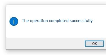 The operation completed successfully