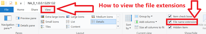 If you don't see the file extension (.inf): In File Explorer, select View on the menu bar.