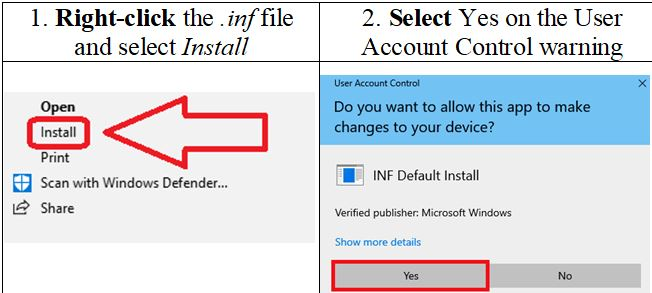 How to install the driver. Right-click the .inf file and select Install